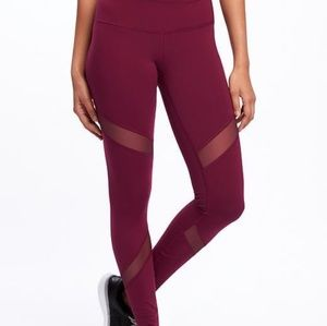 Mid-Rise Mesh-Panel Elevate Compression Leggings